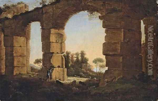 An Italianate evening landscape with a shepherd and his flock by a ruined aqueduct Oil Painting - Claude Lorrain (Gellee)