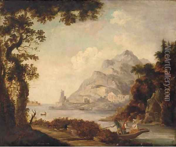 Figures in a boat before classical ruins, in a Mediterranean harbour Oil Painting - Claude Lorrain (Gellee)
