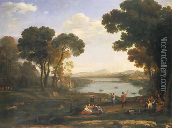 Landscape with Water Mill Oil Painting - Claude Lorrain (Gellee)