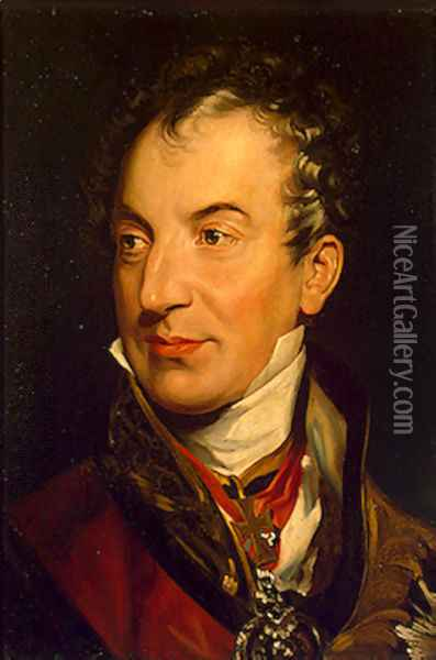 Klemens Wenzel von Metternich (1773-1859), German-Austrian diplomat, politician and statesman (detail) Oil Painting - Sir Thomas Lawrence