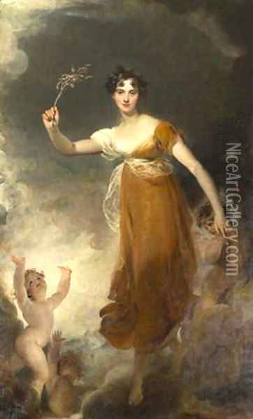 Portrait of Georgina Maria Lady Leicester as Hope Oil Painting - Sir Thomas Lawrence