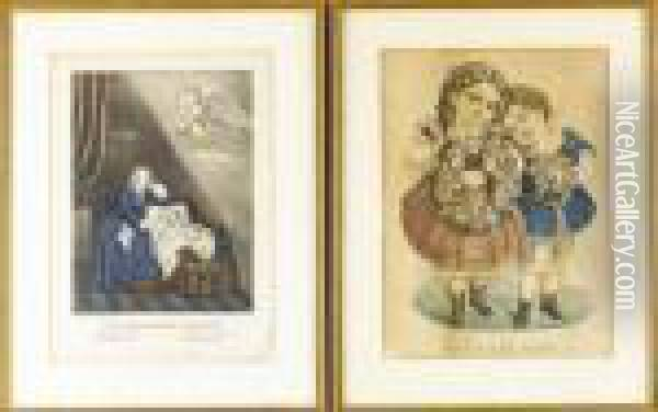The Mother's Dream Oil Painting - Currier & Ives Publishers