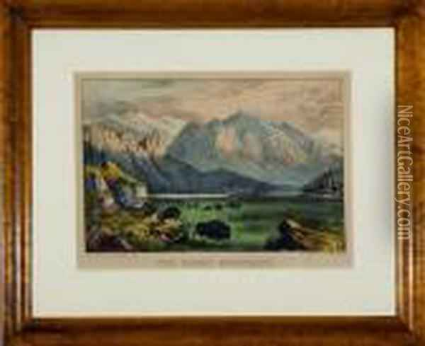 The Rocky Mountains Oil Painting - Currier & Ives Publishers