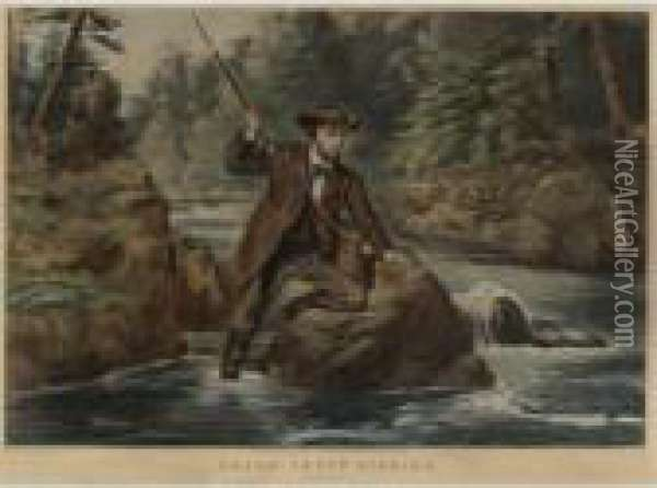American Hunting Scenes: A Good  Chance And Brook Trout Fishing: An Anxious Moment (gale 186 And 789) Oil Painting - Currier & Ives Publishers