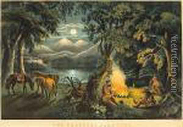 The Trappers Camp-fire Oil Painting - Currier & Ives Publishers