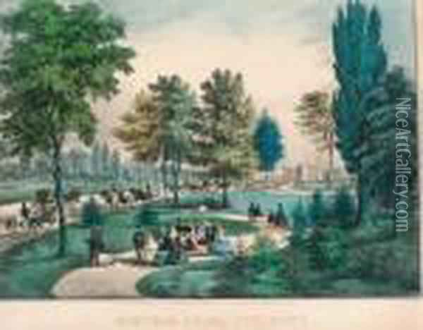 Central Park, The Drive. Oil Painting - Currier & Ives Publishers