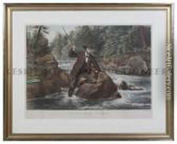 Brook Trout Fishing. An Anxious Moment Oil Painting - Currier