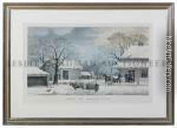 Home To Thanksgiving Oil Painting - Currier