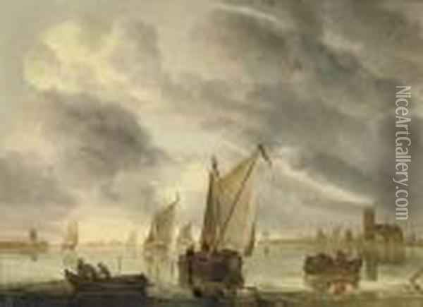 Sailing Vessels On A River, A Church Tower In The Distance Oil Painting - Aelbert Cuyp