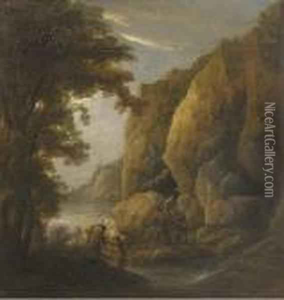 A Mountain Gorge With Travellers On A Path Oil Painting - Jaques D'Arthois