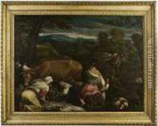 An Allegory Of Spring: Peasants Sowing, Feeding Lambs And Ploughing With Cattle Oil Painting - Jacopo Bassano (Jacopo da Ponte)