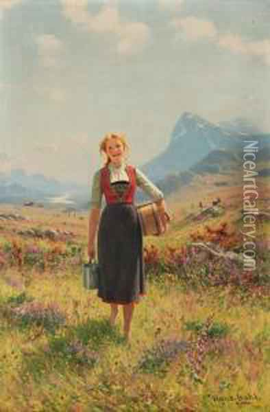 Summer In The Mountains, Norway Oil Painting - Hans Dahl
