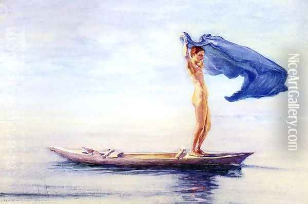 Girl In Bow Of Canoe Spreading Out Her Loin Cloth For A Sail Samoa Aka Fayaway Oil Painting - John La Farge