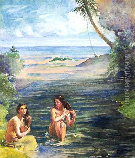 Women Bathing In Papara Riiver Oil Painting - John La Farge