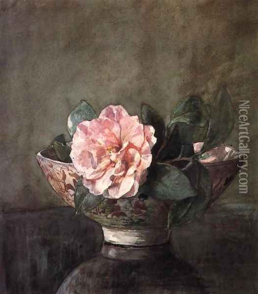 Camellia In Old Chinese Vase On Black Lacquer Table Oil Painting - John La Farge