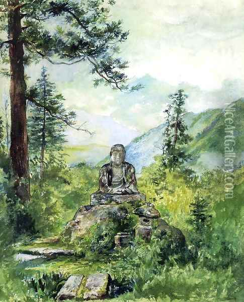Statue Of Oya Jizo At Kamanga Fuchi Nikko Afternoon Oil Painting - John La Farge