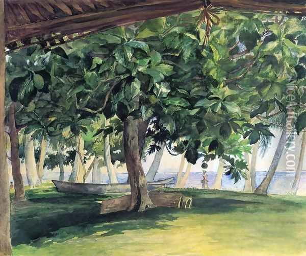 View From Hut At Vaiala In Upolu Bread Fruit Tree War Drums And Canoe Nov 19th 1890 Oil Painting - John La Farge