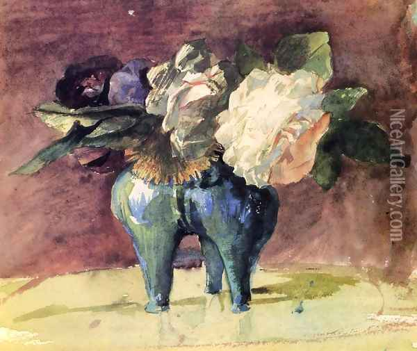 Flowers In A Blue Chinese Vase Of Antique Shape Oil Painting - John La Farge