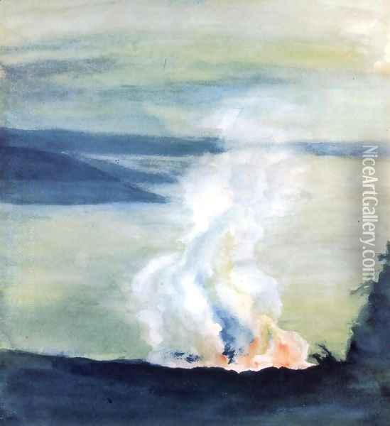 Crater Of Kilauea And Dana Lake In Twilight Oil Painting - John La Farge