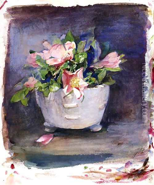 Wild Roses In A White Chinese Porcelain Bowl Oil Painting - John La Farge