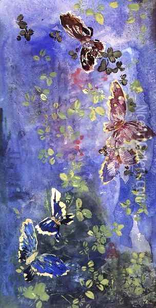 Butterflies And Foliage Oil Painting - John La Farge