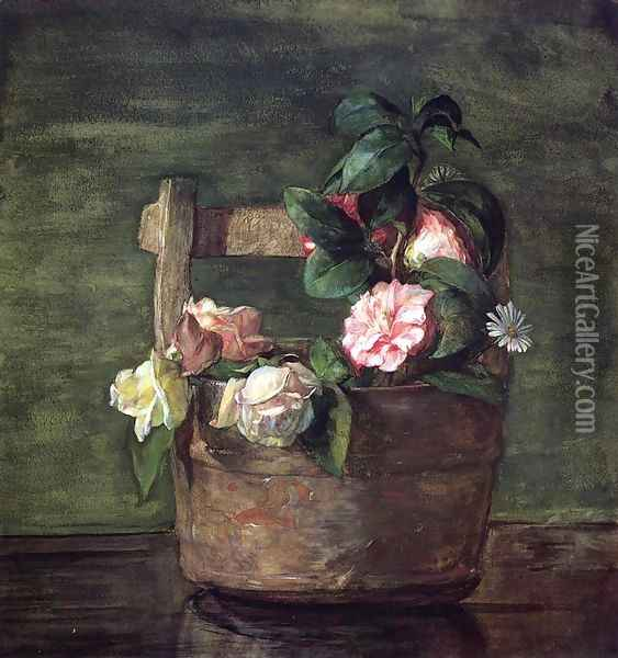 Camellias And Roses In Japanese Vase Of Earthenware With Crackle Oil Painting - John La Farge