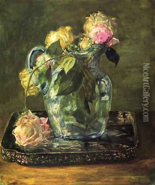 Roses In Blue Crackle Glass Pitcher Oil Painting - John La Farge