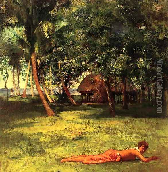 In Front Of Our House Vaila Girl On Grass Oil Painting - John La Farge