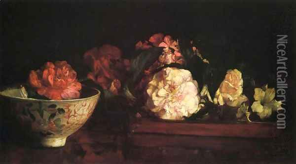 Flowers In A Japanese Tray On Mahogany Table Oil Painting - John La Farge