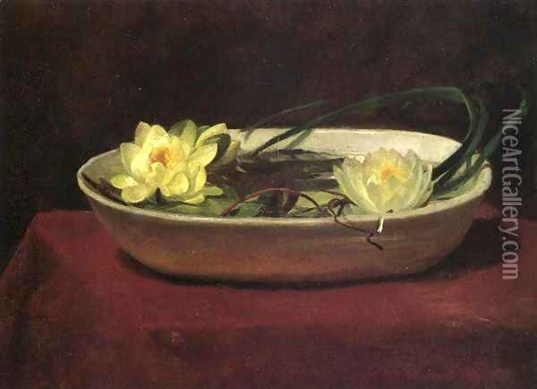 Water Lilies In A White Bowl With Red Table Cover Oil Painting - John La Farge
