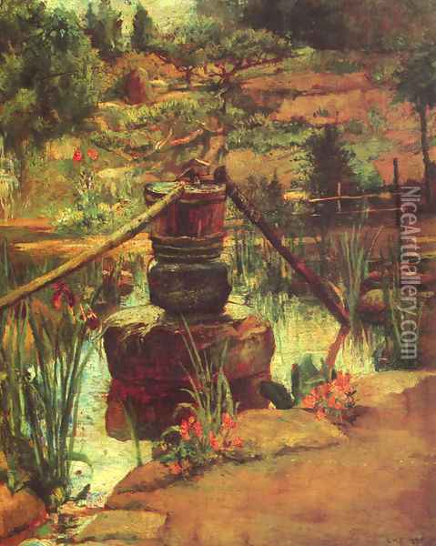 The Fountain in Our Garden at Nikko Oil Painting - John La Farge