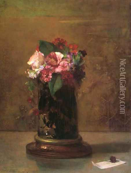 Flowers in a Japanese Vase Oil Painting - John La Farge