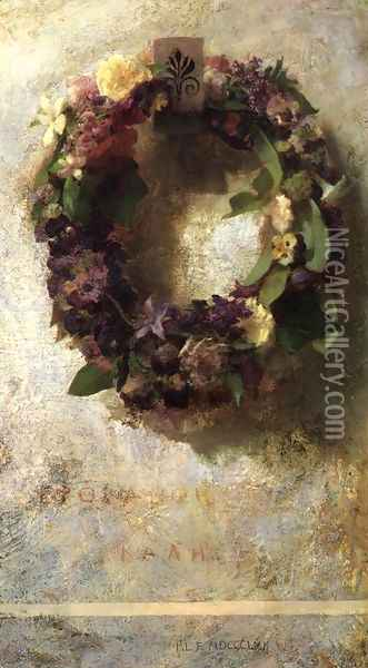 Agathon To Erosanthe Votive Wreath Oil Painting - John La Farge