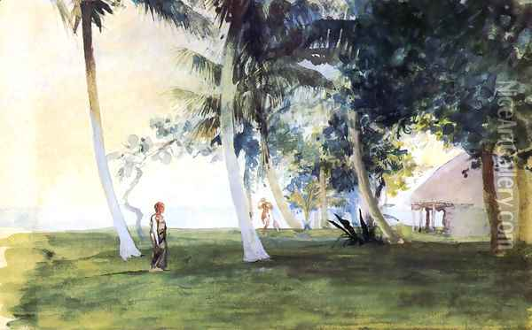 At Dawn In Front Of Our House At Vaiala Upolu Samoa Oil Painting - John La Farge