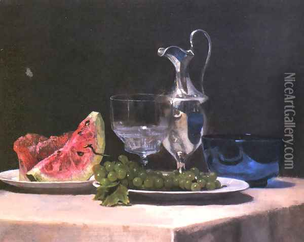 Still Life Study Of Silver Glass And Fruit Oil Painting - John La Farge