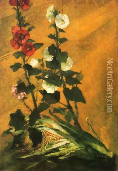 Hollyhocks And Corn Oil Painting - John La Farge