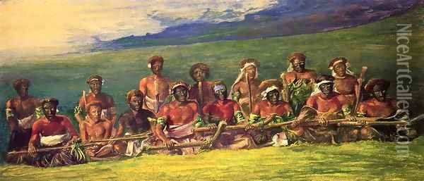 Chiefs In War Dress Seated After A Dance Islands Of Fiji Aka Chiefs And Performers In War Dance Fiji Oil Painting - John La Farge