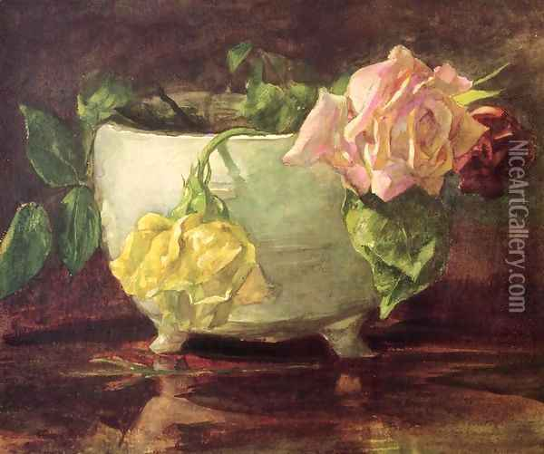 Roses In Old Chinese Bowl Oil Painting - John La Farge
