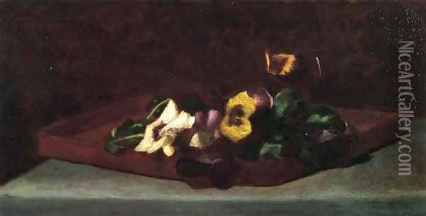 Pansies On A Tray Oil Painting - John La Farge