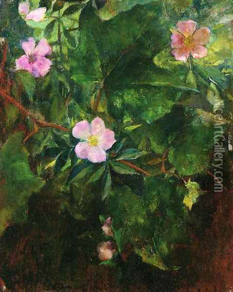 Wild Roses And Grape Vine Study From Nature Oil Painting - John La Farge