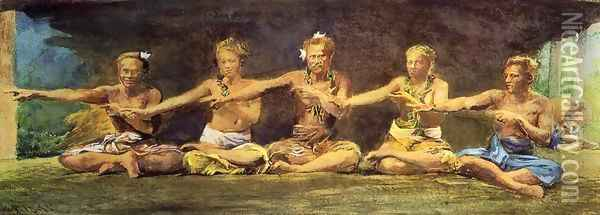 Siva Dance Five Figures Vaiala Samoa Taele Weeping In The Corner Oil Painting - John La Farge