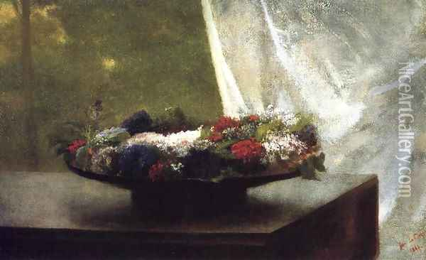 Flowers In A Lacquer Bowl Oil Painting - John La Farge