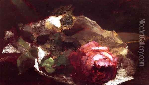 Still Life With Rose Oil Painting - John La Farge