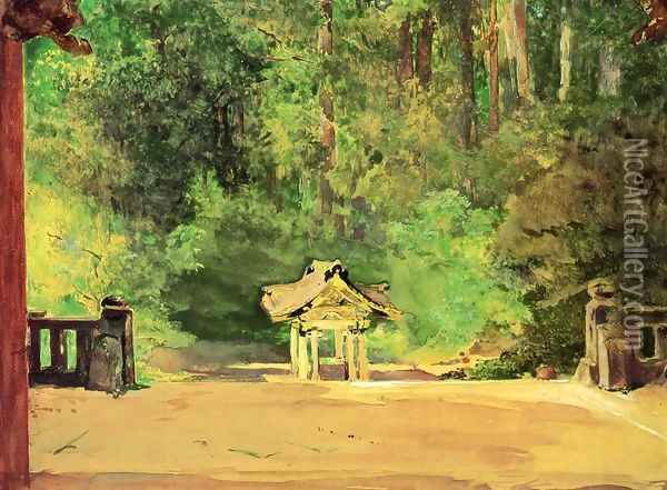 Sacred Font In The Temple Of Iyemitsu Nikko From The Platform Of The Second Gate Oil Painting - John La Farge