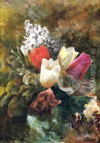 Tulips And Hyacinths Oil Painting - John La Farge
