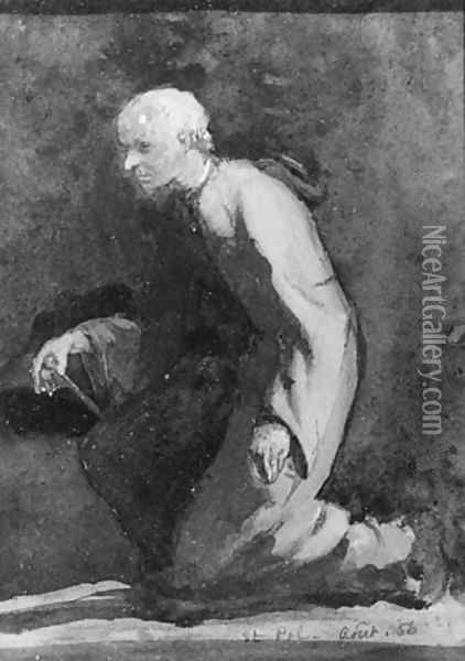 A Brittany Beadle--Sketch from Nature Oil Painting - John La Farge