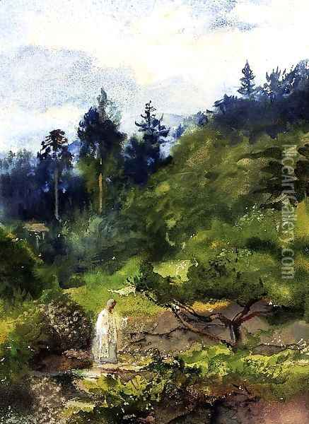 Looking Over The Garden Wall And Steps Toward The Temple Eclosure Of Iyeyasu Aka Priest Comig From The Temple Nikko Japan Oil Painting - John La Farge