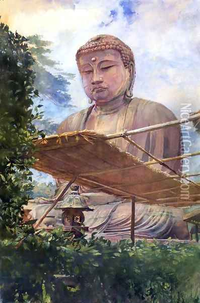 The Great Statue Of Amida Buddha At Kamakura Known As The Diabutsu From The Priests Garden Oil Painting - John La Farge