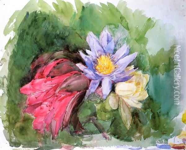 Water Lilies And Hibiscus Oil Painting - John La Farge