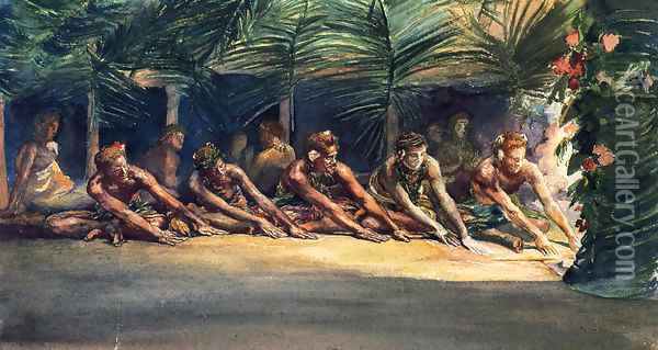 Siva Dance At Night Aka A Samoan Dance Oil Painting - John La Farge